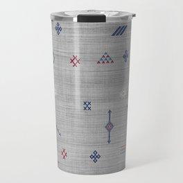 Cactus Silk Pattern in Grey Travel Mug