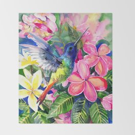 Hummingbird and Plumeria Florwers Tropical bright colored foliage floral Hawaiian Flowers Throw Blanket