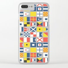 Geometric Nautical flag and pennant Clear iPhone Case