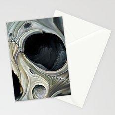 grey surreal skull Stationery Cards