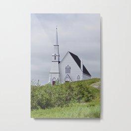 white church on a cloudy day Metal Print