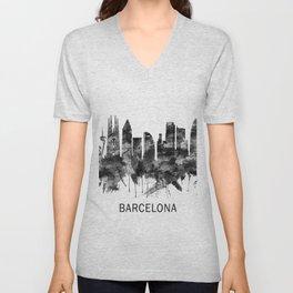Barcelona Spain Skyline BW Unisex V-Neck