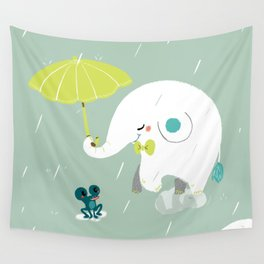 Rainy Elephant Wall Tapestry