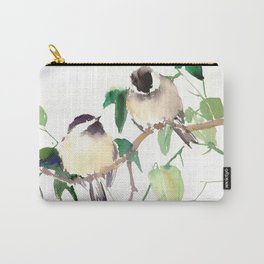 Chickadees, birds on tree, bird design neutral colors Carry-All Pouch