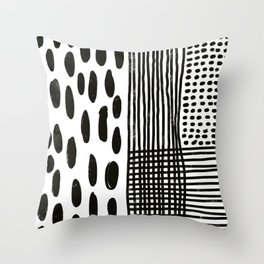 Play minimalist abstract dots dashes and lines painterly mark making art print Throw Pillow