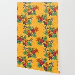 Hummingbirds and tropical bouquet in yellow Wallpaper