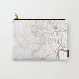 Bangkok Thailand Minimal Street Map - Rose Gold Pink and White Carry-All Pouch