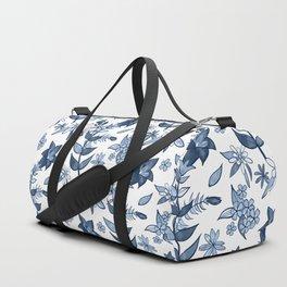 Monochrome Blue Alpine Flora Duffle Bag