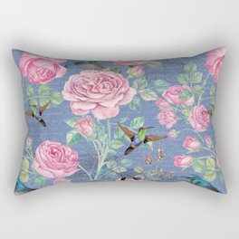 Vintage Watercolor hummingbird and English Roses on blue Background Rectangular Pillow