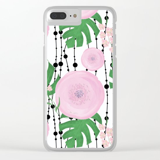 Pink flowers on a white background with black beads. Clear iPhone Case