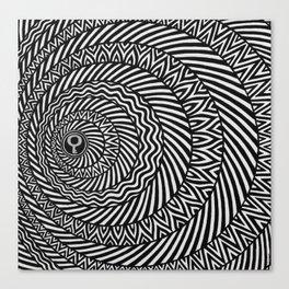 Kinetic Black and White Mandala Canvas Print
