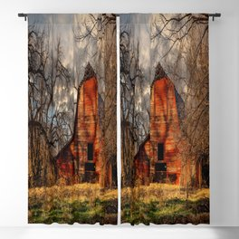 Red Barn - Rustic Barn in Shadows on Fall Day in Oklahoma Blackout Curtain