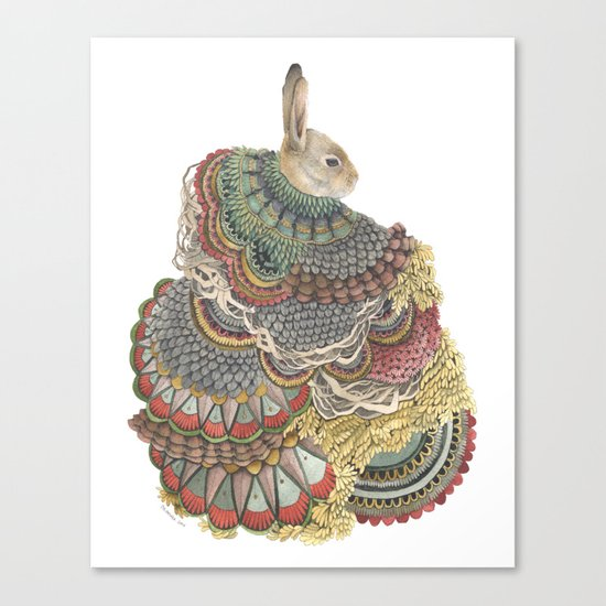Quilted Forest: The Rabbit Canvas Print