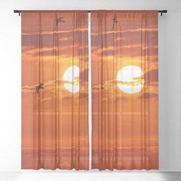 Red Sunset2 False Bay Sheer Curtain