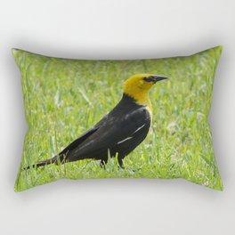 Yellow Headed Blackbird Wild Bird Grass Photo Rectangular Pillow