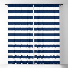 Slate blue and White Thin Stripes - Navy Nautical Pattern Blackout Curtain