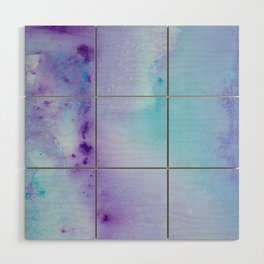 Abstract Watercolor Art Blue And Purple Modern Painting Wood Wall Art