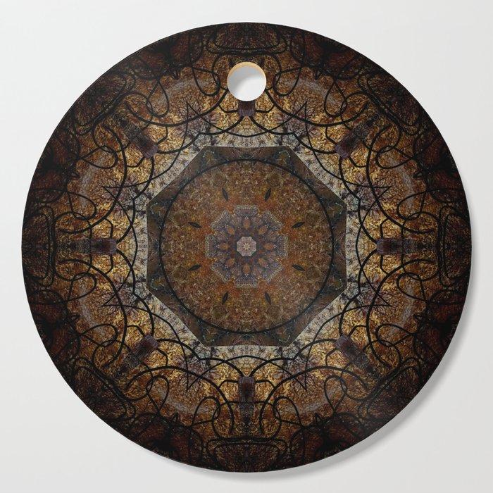 Rich Brown and Gold Textured Mandala Art Cutting Board