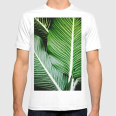 Palm Leaves MEDIUM White Mens Fitted Tee