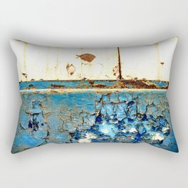 Industrial Rust on Blue Metal Rectangular Pillow