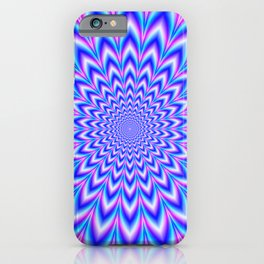 Psychedelic Pulse in Blue and Pink iPhone Case