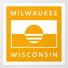 Milwaukee Wisconsin - Gold - People's Flag of Milwaukee Art Print