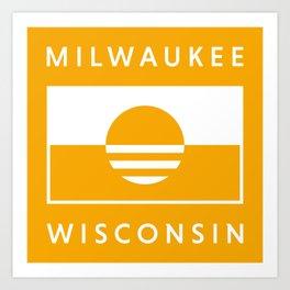 Milwaukee Wisconsin - Gold - People's Flag of Milwaukee Art Print