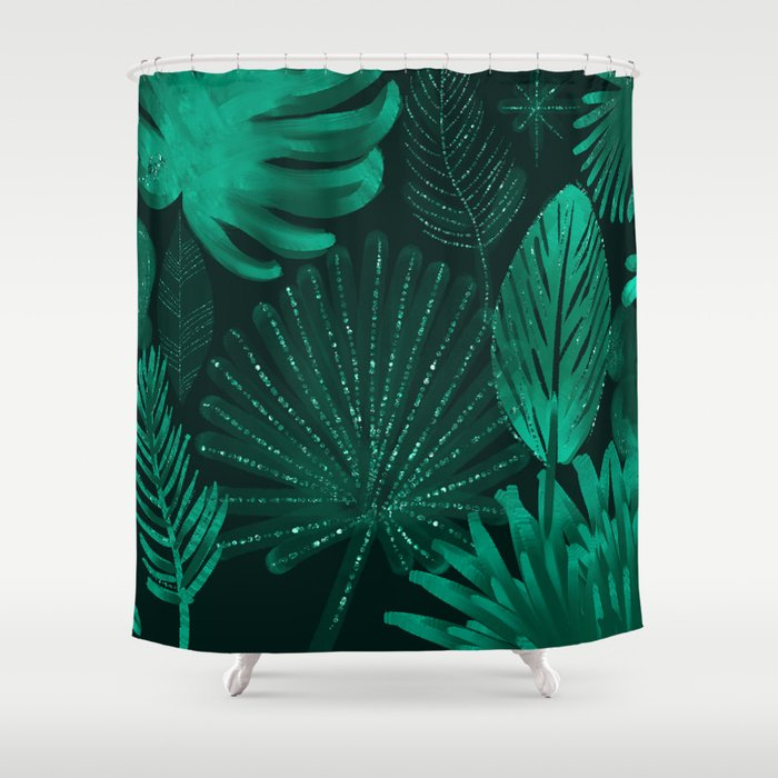 Emerald botanical - tropical ferns and palms Shower Curtain by ...