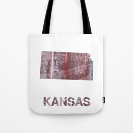 Kansas map outline Gray red clouded aquarelle Tote Bag
