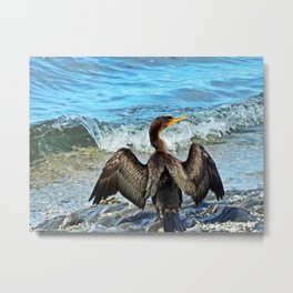 Cormorant Dries off in front of the Sea Metal Print