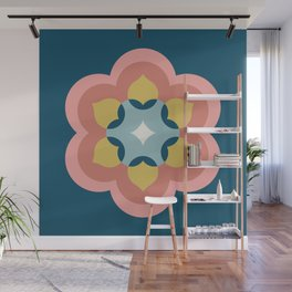 Modern Bloom in Navy and Pink Wall Mural