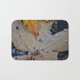 Leaves with Water Drops Bath Mat