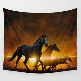 Wild Black Horses Wall Tapestry