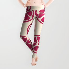 Tropical exotic red grapefruit citrus slices decorative summer fruity creamy ivory beige pattern design. Leggings