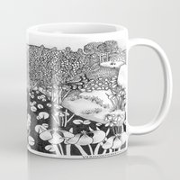 vermont Mugs featuring Zentangle Vermont Landscape Black and White Illustration by Vermont Greetings