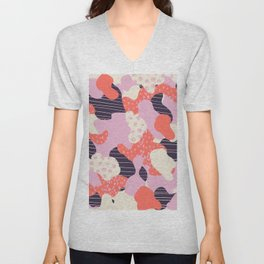 Modern abstract coral purple beige color trend camo camouflage stripes polka dots pattern Unisex V-Neck