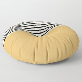 Texture - Black Stripes Gold Floor Pillow