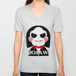 Jigsaw (Saw Movies) Halloween Unisex V-Neck