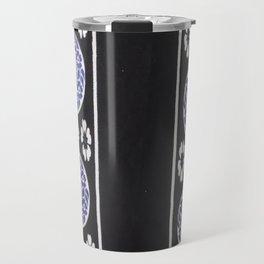 Black and Blue Tanzanian Fabric 3 Travel Mug