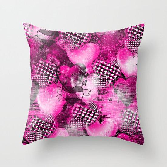 Light Bulb Hearts Series (pink) Throw Pillow