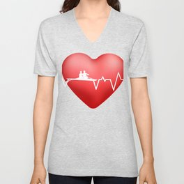 Live Love Rowing HeartBeat Rowing Crew Gift Design product Unisex V-Neck