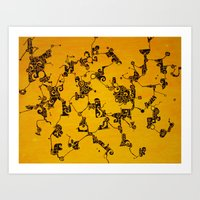 Yellow Abstract Pattern Painting Art Print