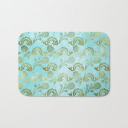 Mermaid Ocean Whale Friends - Teal And Gold Pattern Bath Mat