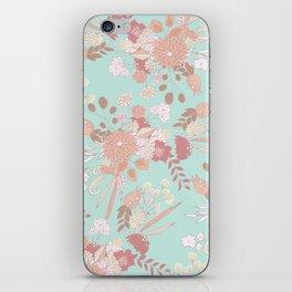 Vintage green pastel coral white rustic floral iPhone Skin