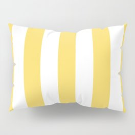 Naples yellow - solid color - white vertical lines pattern Pillow Sham