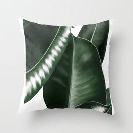 Big leaves white Throw Pillow