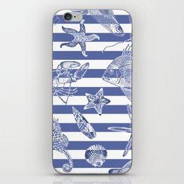 Sea things, blue striped design iPhone Skin