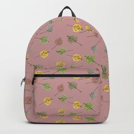 Colorado Aspen Tree Leaves Hand-painted Watercolors in Golden Autumn Shades on Copper Rose Backpack