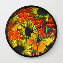 ORANGE-YELLOW BUTTERFLIES & SUNFLOWERS ARTISTIC HONEYCOMB DRAWING Wall Clock