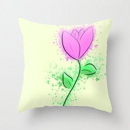 Minimalist Purple Flower Throw Pillow